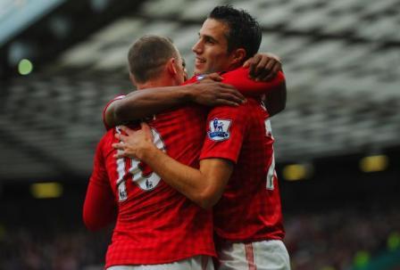 Deadly | Strikers Wayne Rooney and Robin van Persie have scored 26 league goals between them already. (Image | Bleacher Report)