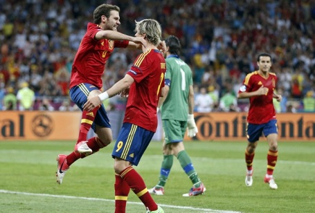 Euphoria | Spain midfielder Juan Mata and striker Fernando Torres celebrate their annihilation of Italy. (Image | Betting Expert)