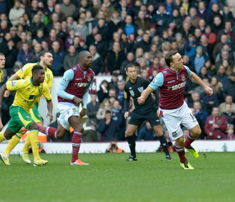 Happy at home | West Ham United midfielder Mark Noble puts Norwich City ahead at the Boleyn Ground. (Image | West Ham United FC)