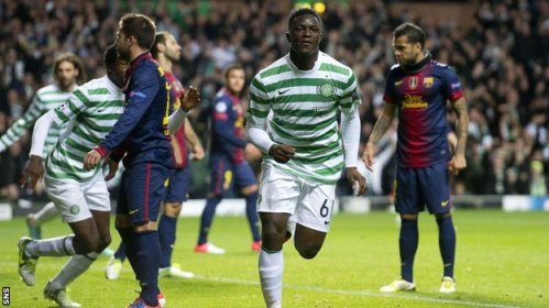 I make that Wan-nil | Victor Wanyama celebrates putting Celtic ahead against Barcelona on a famous night in Glasgow. (Image | BBC)