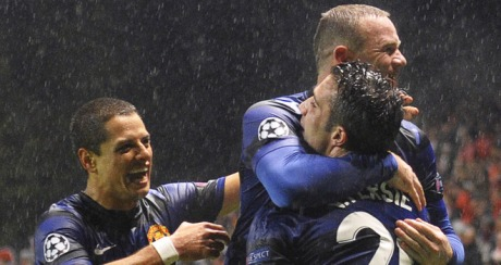 Lethal | Javier Hernández, Wayne Rooney and Robin van Persie have put Manchester United in the driving seat. (Image | Sky Sports)