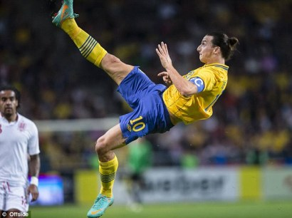 Spectacular | Zlatan Ibrahimovic scores against England with an incredible overhead kick. (Image | Daily Mail)