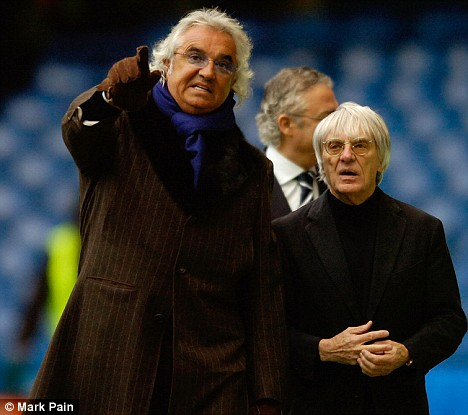 Meddling | Formula 1 money men Flavio Briatore and Bernie Ecclestone went through seven permanent managers at QPR. (Image | Daily Mail)