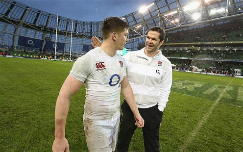 Owen goals | Owen Farrell is congratulated by his father, Andy, after he kicked England's 12 points against Ireland. (Image | The Telegraph)