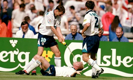 Sign | His celebration after scoring against Scotland at Euro '96 gave an indication of the coming crisis. (Image | The Guardian)