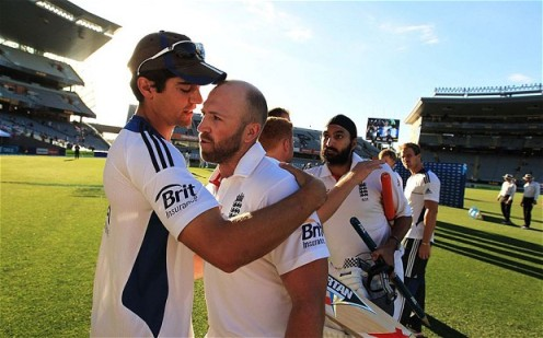 Prior commitment | England captain Alastair Cook embraces Matt Prior after his century against New Zealand. (Image | The Telegraph)
