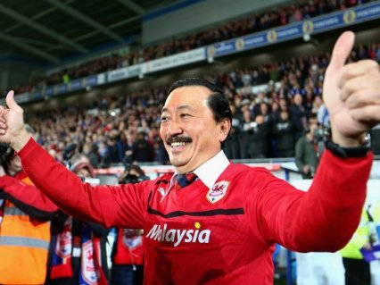 Vincent Tan, Malaysia's ninth richest man, celebrated his club's promotion along with Cardiff fans at Cardiff City Stadium on Tuesday (Image | football365.com)