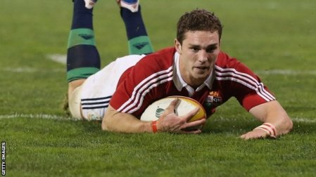 North bound | British and Irish Lions winger George North, scores one of two tries against the Queensland-New South Wales Country XV. (Image | The BBC)