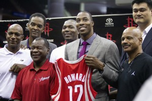 The Houston Rockets assembled as many franchise dignitaries as they could find to welcome the new face of their franchise (Image | Getty)