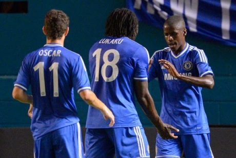 New generation | Chelsea midfielder Ramires celebrates with Romelu Lukaku and Oscar after scoring against Real Madrid. (Image | Inside World Soccer)