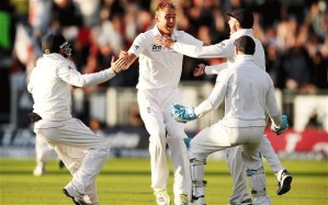 Stuart Broad is congratulated by his England team-mates as his six wickets help England win another Ashes series (Image | Action)